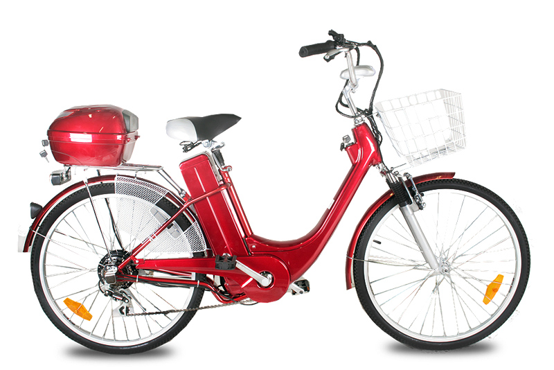 "Elektrokolo city bike 26"" 250 Wattů red"